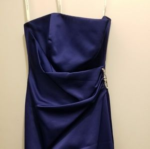 David's Bridal sation dress Navy Blue